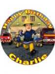 7.5 Personalised Fireman Sam Icing or Wafer Cake Top Topper New